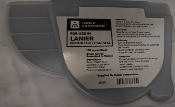 Lanier Toner Cartridge 180 grams/black 6613/6713/7213/7313