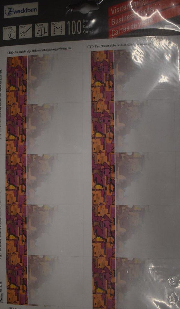 Avery Zweckform Visitenkarten No 32351 Orient Weiß 100 Karten 85x54 Mm